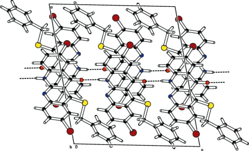 The crystal structure of the title compound in a view along [010]. N—H···O hydrogen bonds are shown as dashed lines.