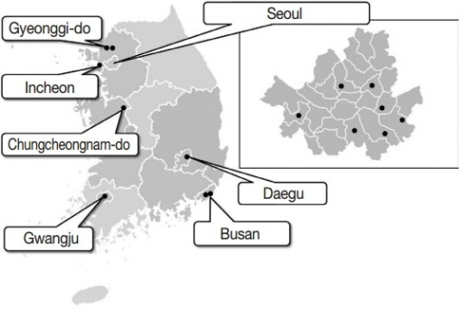 Geographical distribution of the 15 hospitals in Korea.