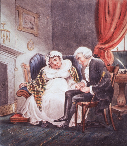 <p>In an interior fireside scene, a doctor and a plump female patient smile sweetly at each other as he takes her pulse.</p>