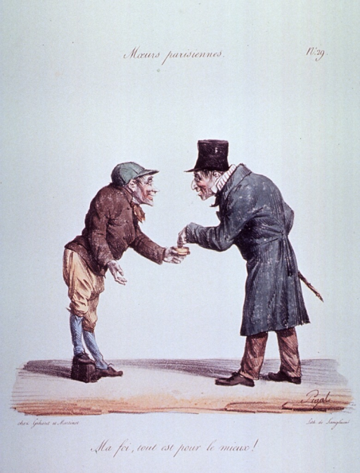 <p>Caricature:  A man wearing an orthopedic shoe offers snuff to another man.</p>