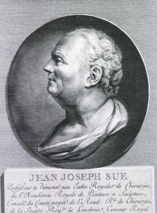 <p>Head and shoulders, left profile in oval set against rectangle, with name plate and French inscription.</p>