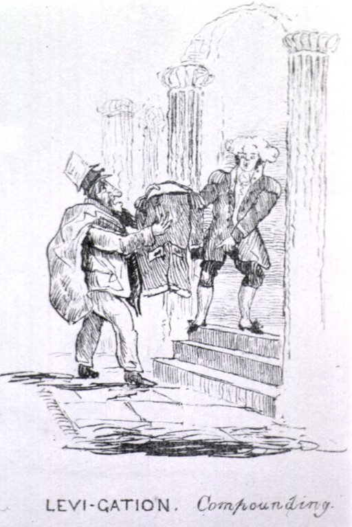 <p>A man standing in a doorway at the top of several steps holds one arm of a coat. The other arm of the coat is held by a man standing at the foot of the steps. This man also carries a bag over his shoulder and wears several top hats, each one piled atop another.</p>