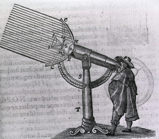 <p>A man is looking through a telescope, the parts of which are lettered for further identification and discussion.</p>