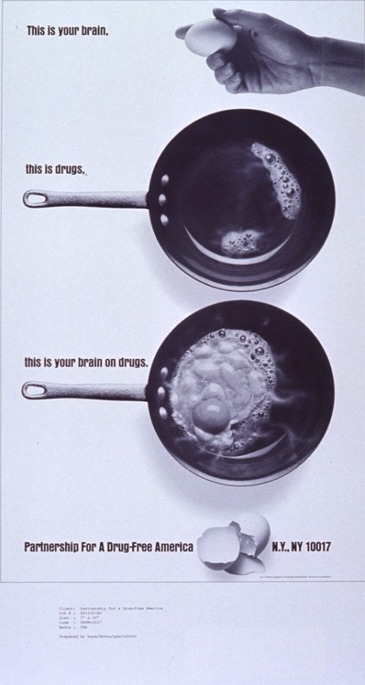<p>White poster with black lettering.  Title on left side of poster, interspersed among visual images.  Images all reproductions of b&amp;w photos.  Top right is a hand holding an egg.  Center right is a hot frying pan.  Lower right is the egg frying in the pan.  Bottom is a broken egg shell.  Poster may be a proof copy as there appear to be codes from the advertising agency at the very bottom of poster.</p>