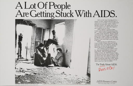 <p>White poster with black and red lettering.  Title at top of poster.  Visual image is a black and white photo reproduction showing four young men in an abandoned building.  Text on right side of poster discusses the link between AIDS and IV drug use.  Text also describes services provided by the AIDS Resource Center.  Caption below text.  Publisher information in lower right corner.</p>
