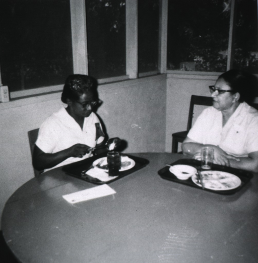 <p>Two African American teachers at the midwife institute having a conference at lunch time.</p>