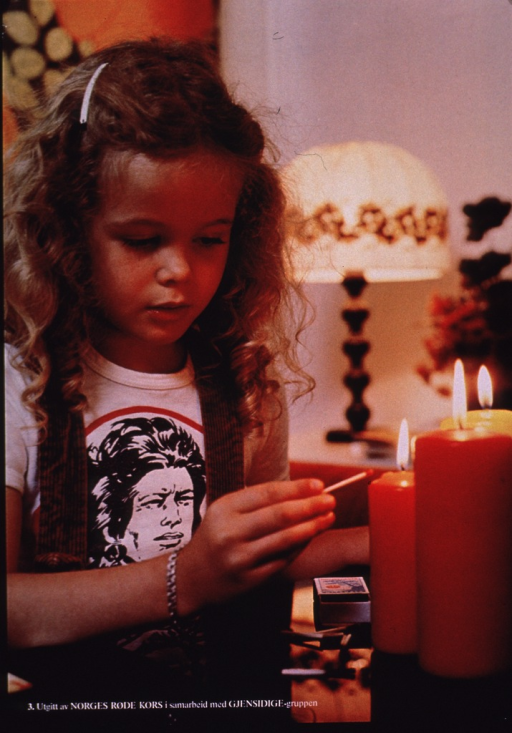 <p>Multicolor poster with white lettering.  Visual image is a color photo reproduction featuring a young girl lighting some candles.  Several spent matches are on the table in front of her.  Publisher information at bottom of poster.</p>