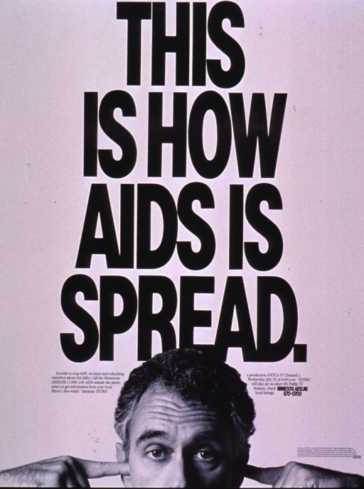 <p>The visual consists of a photograph of a man with his fingers in his ears, located at the bottom of the poster . The photograph only shows his face from the nose up. Most of the poster shows the title in large black uppercase letters. The phone number for the Minnesota AIDSLINE is at the bottom of the poster.</p>