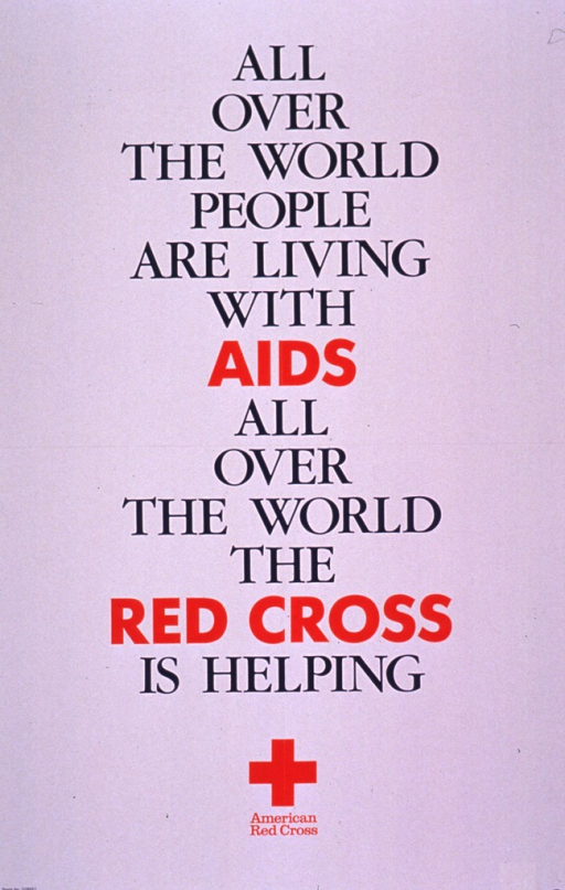 <p>Predominantly white poster with blue and red lettering.  Title dominates poster.  Publisher logo, a solid red cross, is the only image; logo and publisher information at bottom of poster.</p>