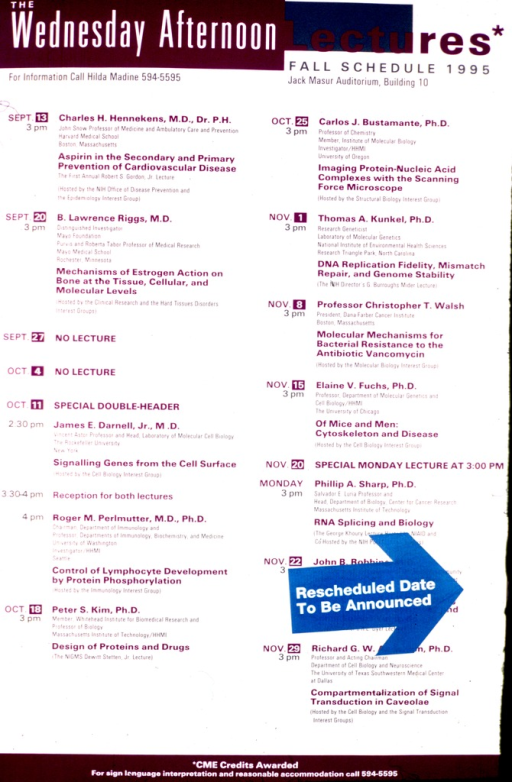 <p>Poster contains only text.  It lists the topics of the lectures and the speakers, with the dates.</p>