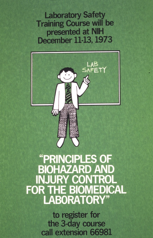 <p>Green poster with a drawing of a man in slacks, tie, and suit jacket standing at a black board.  The black board has the phrase &quot;Lab Safety&quot; written on it in chalk.</p>