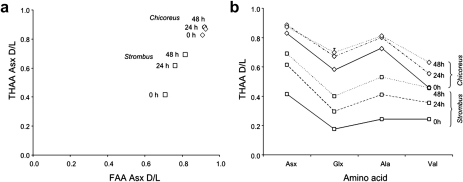 "(a) Asx THAA vs FAA dl ratio for Strombus and Chicoreus. Note the increase in d/l values for Strombus with increasing heating time, while Chicoreus Asx d/ls cluster at higher values. Error bars represent one standard deviation around the mean. (b) ""Spider diagram"" illustrating the increase of THAA d/l values for Asx, Glx, Ala and Val with increasing heating time, for Strombus (square symbols) and Chicoreus (diamond symbols). Error bars represent one standard deviation around the mean."