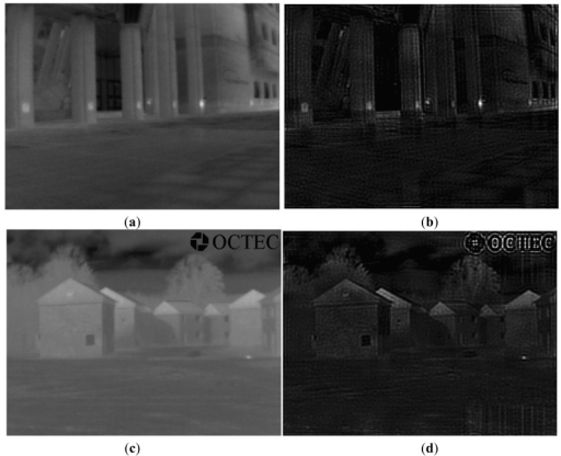 Examples of IRE image transformation using the designed inverse filter. (a) Original IR Image 1; (b) Transformed IR Image 1 via the inverse filter; (c) Original IR Image 2; (d) Transformed IR Image 2 via the inverse filter.