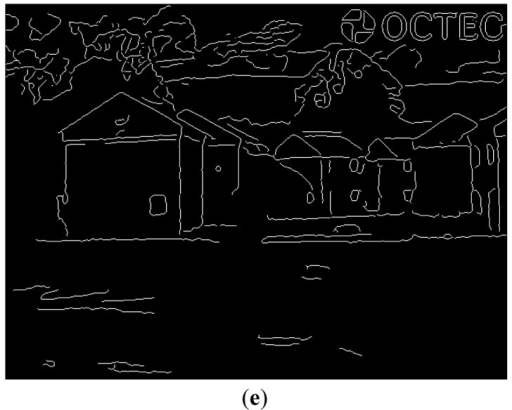 Two edge detection results of EO images via the Canny edge operator. (a) Original EO Image 1; (b) Detected edge of EO Image 1; (c) Original EO Image; (d) Detected edge of EO Image 2; (e) Detected edge of IR Image 2.