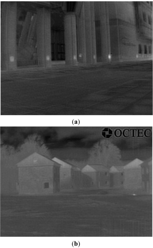 Blended images generated with both EO and IR images. (a) Blended result of IR Image 1; (b) Blended result of IR Image 2.