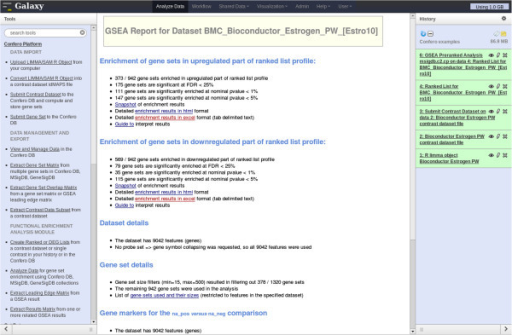 "Screenshot of a GSEA report in Galaxy. GSEA has been performed with the ""BMC_Bioconductor_Estrogen_PW_[Estro10]"" contrast using the complete MSigDB C2 gene set collection. The users can navigate in the GSEA report to investigate the results using the hyperlinks of the web page (middle frame)."