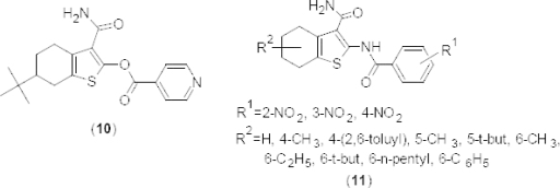 Structures of various congeners of 1-benzothiophene-3-carboxamides with PDE4B inhibitory activity