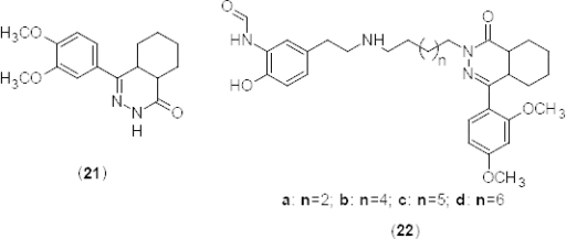 Analogues of hexahydrophthalazinone that have shown promising PDE4B2 inhibitory activity