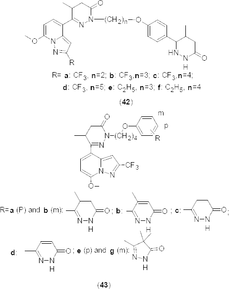 Novel series of N-alkylated pyridazinones that have shown selective PDE4B inhibitory activity