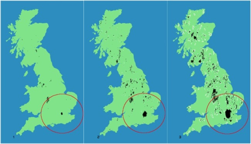 Three different stages in our model evolution.From right to left we can observe structures formed at (A) t1(t = 50) (B) t5(t = 250) and (C) t10(t = 500). Consolidated structures Ci(t) = 1 are shown in black, while non-consolidated ones Ci(t) = 2 are shown in white. The red circumference around the London area is the area of influence defined around the initial seed. Source: Black and white structures compiled by authors; Coastline made with Natural Earth. Free vector and raster map data @ naturalearthdata.com