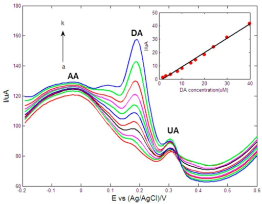 DPVs of Au1Pt1NPs-GR/GCE in 0.1 M PBS (pH = 7.0) containing 50 μM AA, 12 μM UA and different concentrations of DA (from a to k: 1.6, 3, 5, 8, 10, 14, 15.9, 19.9, 23.9, 29.8 and 39.7 μM). Inset: The calibration curve of DA. Scan rate: 10 mV/s, pulse amplitude: 50 mV, pulse width: 40 ms, pulse period: 0.3 s.