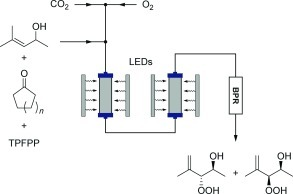 Continuous photo‐oxidation under supercritical CO2 conditions for the production of antimalarial trioxanes. A series of UV LEDs and sapphire reactors were used to expose the reagents to UV radiation.