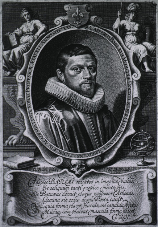 <p>Head and shoulders, right pose, in oval with Latin inscription around border.  Detailed emblems and Latin verse at base.  Aetat XLI.</p>