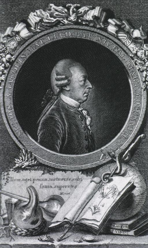 <p>Head and shoulders, right profile; medallion; open book, caduceus, and other instruments shown below portrait.</p>