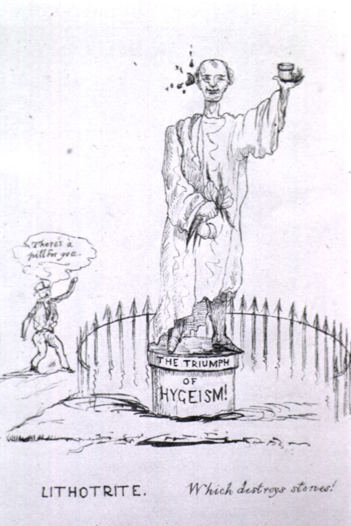 <p>A statue of a man in classical garb (toga?) stands on a pedestal on which is written: The triumph of the age of hygeism! A man from whom issues a dialog bubble (&quot;There's a pill for you&quot;) tosses an object at the statue.</p>