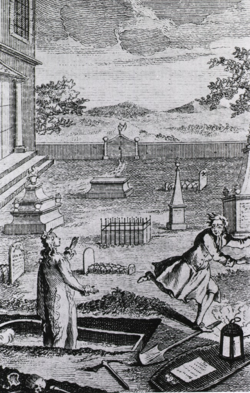 <p>Graveyard scene: a prematurely interred person stands up in the casket after being exhumed by a grave robber who flees in terror.</p>