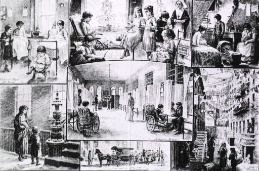 <p>Hospital Sunday in New York - Christian work among the poor [7 vignettes showing hospital, street, and slum scenes].</p>