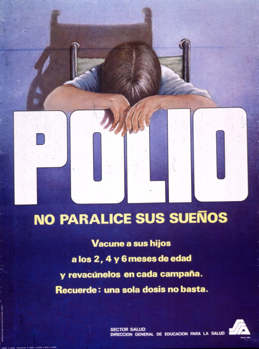 <p>Predominantly blue poster with white and yellow lettering.  Visual image at top of poster is an illustration of a person in a wheelchair slumped over the title word &quot;Polio.&quot;  Title below illustration, caption below title.  Caption provides a schedule for polio vaccinations and a reminder that one dose of the vaccine is not enough.</p>