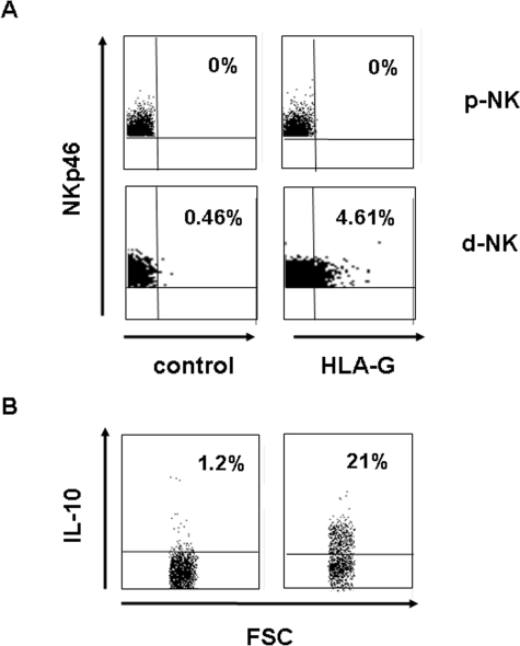 In vivo detection in freshly isolated decidual NK cells of a NKp46+ HLA-G+ IL-10+ subset.(A) Dot plot analysis of expression of NKp46 and HLA-G (surface labeling) in human freshly isolated decidual (d-NK) and PB-derived NK cells from pregnant woman (p-NK). Data are representative of six independent experiments. (B) Expression of IL-10 (internal labeling) was analyzed on the gated positive NKp46+ HLA-G+ NK cell subset.
