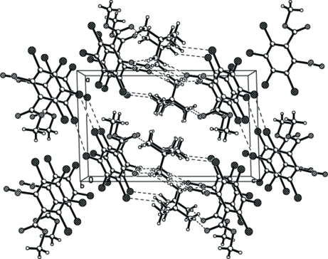 Part of the crystal structure of (I) with hydrogen bonds indicated by dashed lines.