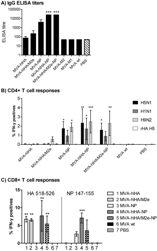 Antibody and T cell responses.(A) ELISA titers against whole-virus H5N1. The starting dilution of the assay is 1∶100. (B) Percentage of CD4+ T cells reacting to whole-virus H5N1, H1N1 and H9N2 and to recombinant H5 hemagglutinin (rHA H5) antigen after immunization of mice with MVA vectors. (C) Percentage of CD8+ T cells reacting to HA and NP peptides. Asterisks denote statistical significance calculated by two-way ANOVA and Bonferroni posttests (*p<0.01, **p<0.001, ***p<0.0001).