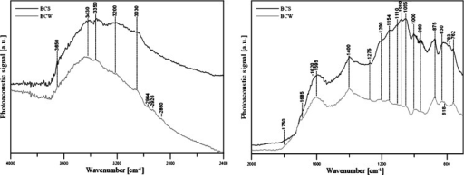 FTIR/PAS spectrum of BCs used in the study: 1 4,000–2,400 cm−1 range and 2 2,000–700 cm−1 range
