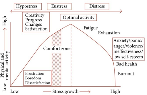 Human response to stress curve (*according to Nixon P: Practitioner 1979, Yerkes RM, Dodson JD).