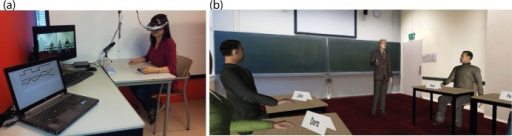 The experimental setup with (a) a participant doing the experiment, and (b) the participant's view of the virtual environment.