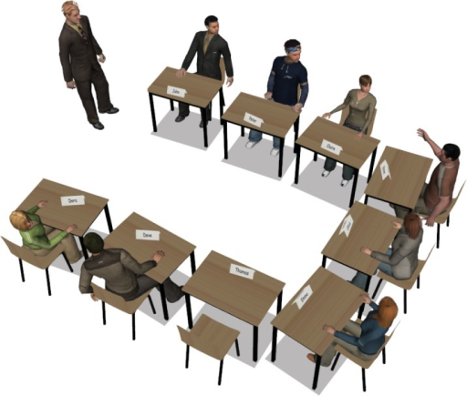 The layout of the virtual classroom where the participant was seated on the empty chair.