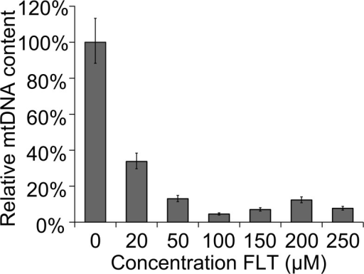 Concentration dependent decrease of mtDNA.Synchronised L1 worms were put on a plate with FLT and experiments were performed after 72hrs of continuous exposure. In FLT exposed animals, the reduction of mtDNA is concentration dependent. Error bars represent 95% CI (df = 16). Significance was determined using a two-tailed student's T test assuming unequal variances. P-value was <0.001 for all reported concentrations.