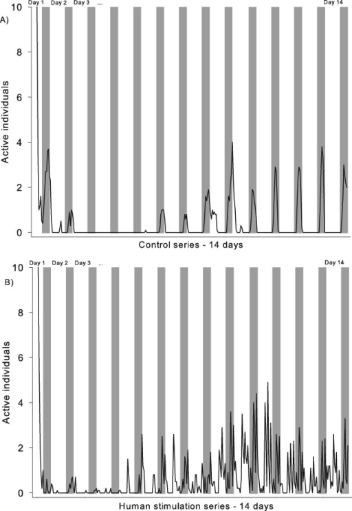 Example of typical recordings of Cimex lectularius activity in a mixed population of five males and five females during a 14-day experimental period. (A) Control series without stimuli. (B) Human stimulation series with spikes of activity related to human presence. The grey background indicates night, and the white background indicates lights on.