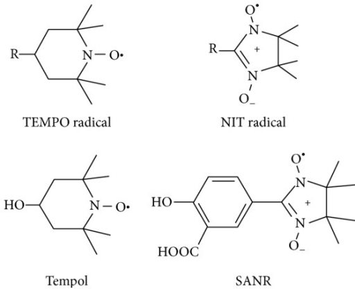 Structure of SANR and other nitroxide radicals. Structure of TEMPO, α-nitronyl (NIT) group radicals, Tempol, and SANR.
