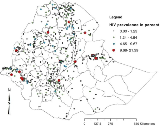 Map showing the prevalence of HIV infection in Ethiopian Demographic and Health Survey (EDHS) cluster areas of Ethiopian Zones, 2011.