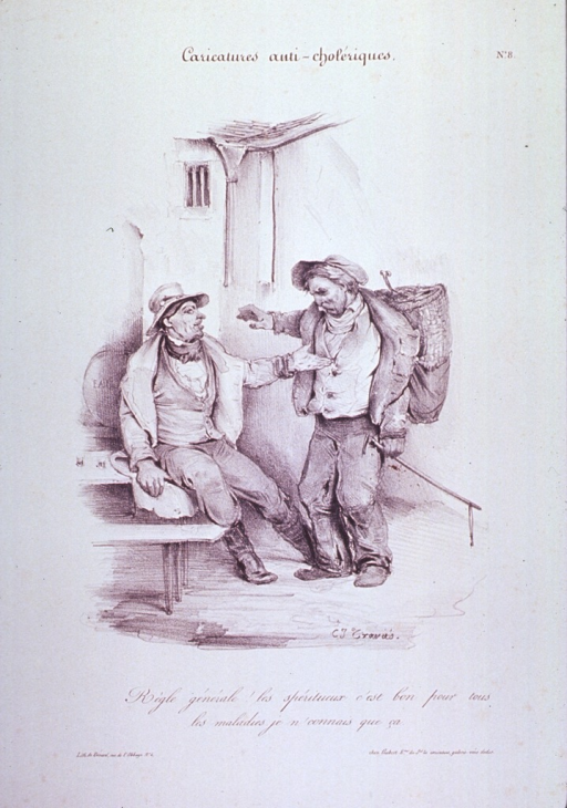 <p>Caricature:  Two men, one seated on a bench, discuss the merits of liquor as a cure for cholera.</p>