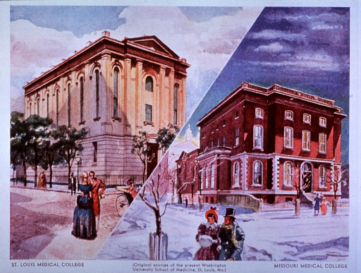 <p>An advertisement for trasentin uses an exterior view of two distinct pictures: one picture is the St. Louis Medical College sometime in the spring/summer; the other is a winter picture of the Missouri Medical College.</p>