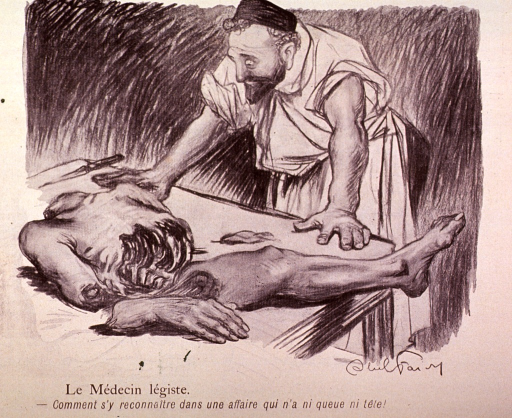 <p>A physician attempts to identify a body from the few remaining body parts.</p>