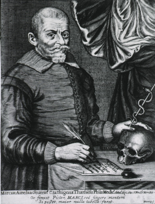 <p>Standing, right pose, one hand on skull; one holding quill pen.</p>
