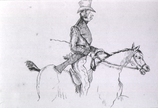 <p>A man in top hat and riding outfit is shown in profile on a horse.</p>