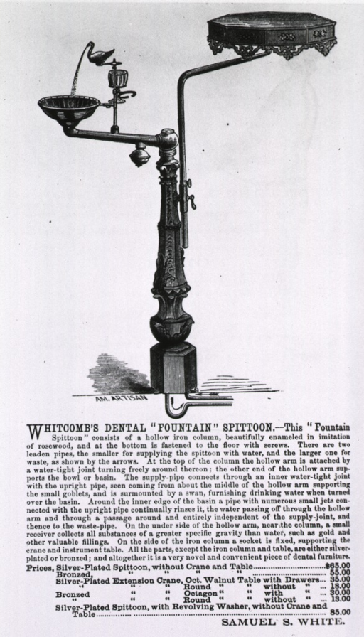 <p>Advertisement with text and illustration: a catch basin with a swan fountain mounted on an imitation &quot;rosewood&quot; column; an instrument table is mounted opposite the &quot;spittoon&quot; and fountain.</p>