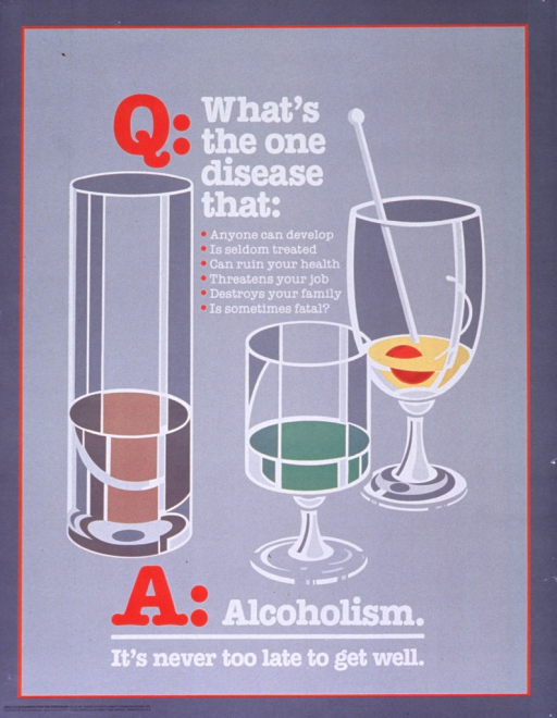 <p>Gray poster with red and white lettering.  Initial title words near top of poster.  Visual image is an illustration of three glasses, one each for beer, wine, and cocktails.  Remaining title words below illustration, note below title word.</p>